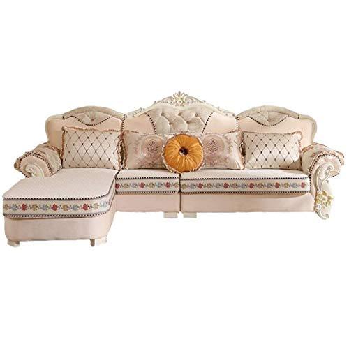 HEMFV Moderna Minimalista de la Esquina en Forma de L sofá de la Tela Lavable, de 4 plazas sofás seccionales for Sala de Estar (Color : Beige)