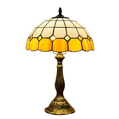 AWCVB Lámpara De Mesa Tiffany De 12 Pulgadas Pastoral Mediterráneo Amarillo Amarillo Lámpara De Escritorio Victorian Nightstand