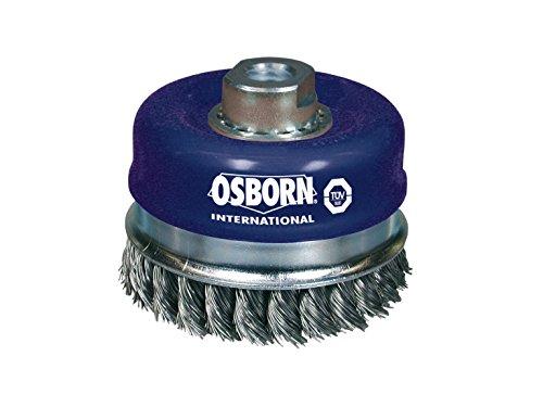 Osborn 2608155 haakse slijper 230 mm, panborstel D120 mm schroefdraad M14x2,0 gevlochten staaldraad 0,50 mm met steunring TÜV getest