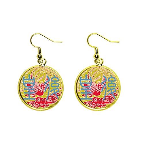 China antigua emperatriz Phoenix patrón oído cuelga oro gota pendiente joyería mujer
