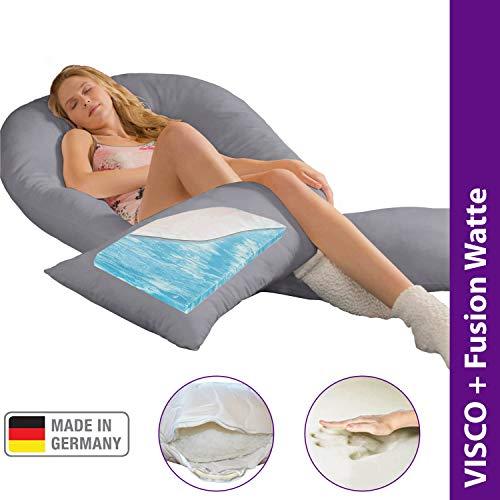 Traumreiter Visco XXL Seitenschläferkissen mit Bezug mittel-grau   Hybrid Kissen mit 1cm Memory Foam I U förmiges Schwangerschaftskissen Gel Body Pillow