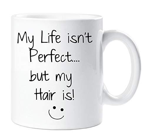 My Life Isn't Perfecto But My Hair Is Taza Peluquero Regalo Marido Esposa Novio Novia San Valentín Regalo Navidad Aniversario Taza Cerámica