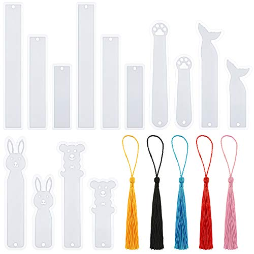 64 Pieces Silicone Bookmarks Resin Mold Set 14 Pieces Bookmarks Casting Mold Epoxy Resin Mold with 50 Pieces 5 Colors Craft Tassels for Jewelry Resin Bookmark Decoration Making