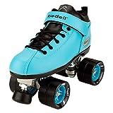 Riedell Skates - Dart - Quad Roller Speed Skates, Aqua, Size 1