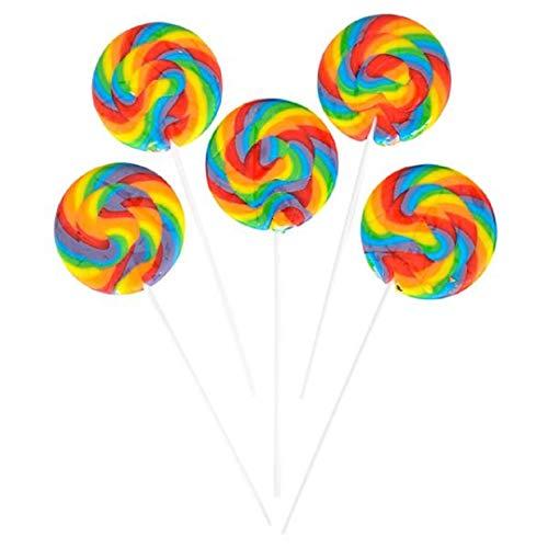 "Huge 3"" SWIRL LOLLIPOP (12 Pack) Colorful Large Suckers on 6"" Sticks."