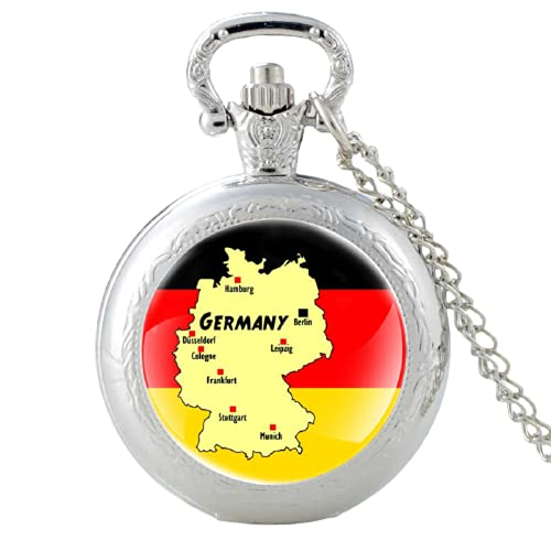 Reloj de bolsillo clásico de cuarzo con diseño de bandera alemana y mapa de Alemania, para hombres y mujeres, collar con colgante de horas, reloj de regalo