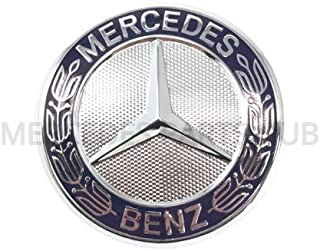 Mercedes Benz Genuine Vehicle Hood Star Emblem Badge (204-817-03-16, Chrome and Blue Laurel Wreath)