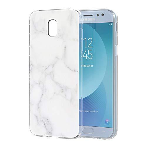 Pnakqil Samsung Galaxy J5 2017 Cover Trasparente, Premium Custodia Silicone con Disegni Leggero Ultra Sottile TPU Morbido Antiurto 3D Pattern Bumper Case per Samsung Galaxy J5 2017, Marmo Bianco