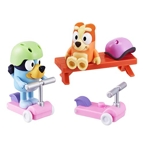 "Bluey Vehicle 2-Pack, 2.5-3"""" Bluey & Bingo Articulated Figures - Scooter Time, Multicolor (13085)"