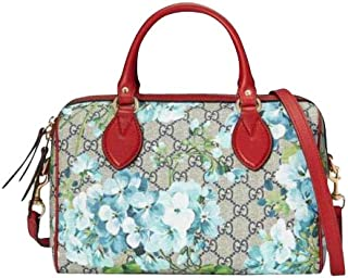 Unisex Beige/Blue Top Handle GG Coated Canvas Small Handbag 409529 8492