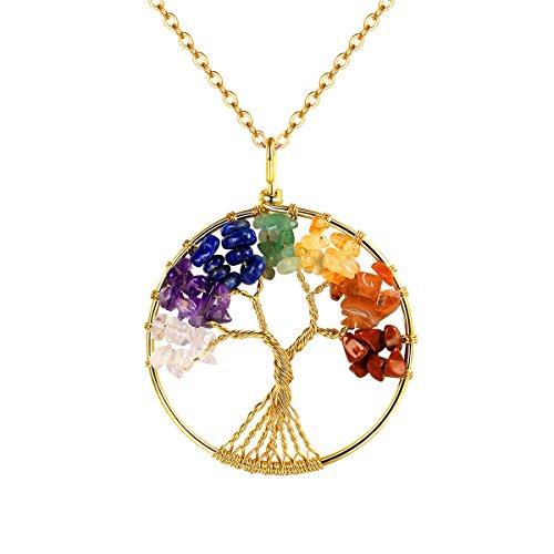 FOCALOOK Collar/Pendientes/Conjunto del Árbol de la Vida con Cristales Naturales Coloradas Material Acero Inoxidable 316L Joyerías Modernas para Mujeres Muchachas