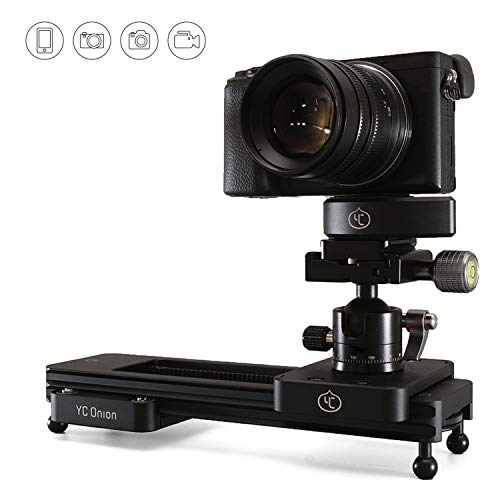 カメラスライダー 軽量 持ち運び便利 アルミ合金23cm 動画撮影用小型カメラスライダー ビデオカメラ/一眼レフ(DSLR)/ミラーレス/スマホ対応 (手動) - YC Onion