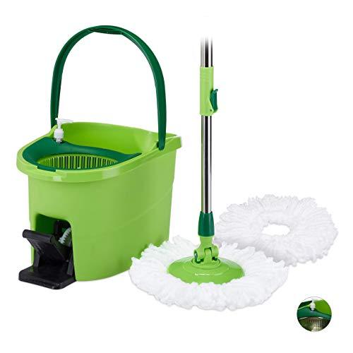 Relaxdays, grün/Silber Power Mop Profi mit Eimer, Pedal, Kunststoff Schleuder, Teleskopstiel, Wischköpfe, HBT 28x44x29cm, Standard