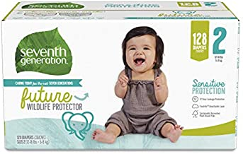 Seventh Generation Baby Diapers, Size 2, 128 Count, Giant Pack, for Sensitive Skin
