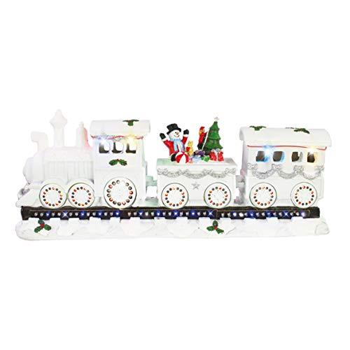 The Christmas Workshop - Adorno de carrusel Animado, Blanco con LED múltiple., 17cm High x 39cm Wide x 11cm D