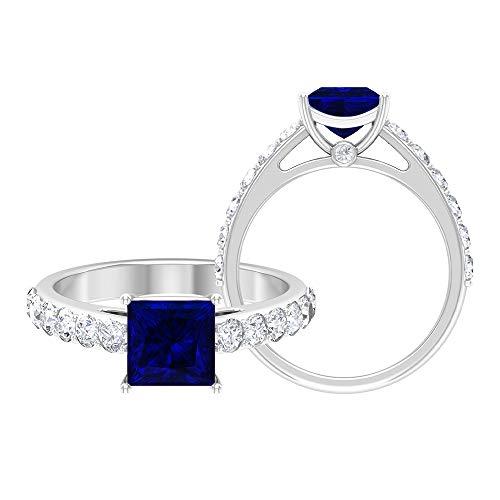 Anillo de compromiso de zafiro azul creado en laboratorio de 2,50 CT con acento moissanita, anillo de compromiso solitario (6,5 mm, 14K Oro blanco, Size:EU 68