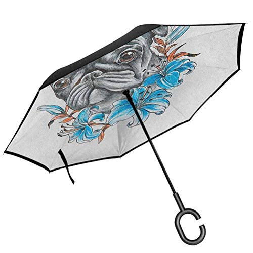 RenteriaDecor Pug Umbrella Windproof Cute Dog Face with Floral Arrangement with Beautiful Flowers Animal Fun Illustration Double Layer Inverted Umbrella