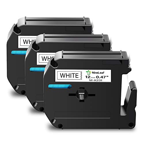NineLeaf 3 Pack Label Tape Replacement Compatible for Brother MK231 M-K231 M231 M-231 (Black on White 0.47 in x 26.2 ft) Fit for P-Touch PT-90 PT-M95 PTM95M PT-70SR PT-80 PT-70BM PT-70 Label Maker