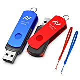 Fast USB3.0 Flash Drive 64GB USB Jump Drive 2 Pack Memory Sticks for Computers High Speed 64gig Up to 90MB/s, Keychain Thumb Drive 64 GB 3.0 Pen Drive with Lanyards for Backup Storage - Blue/Red