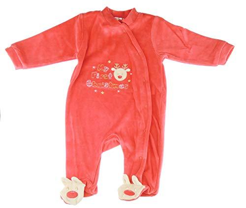 Glamour Girlz Festive My First Christmas Strampler für Babys, Mädchen, Jungen, Velours, Rot / Gold, mit Schleife, Schottenkaro, 0-3 Monate