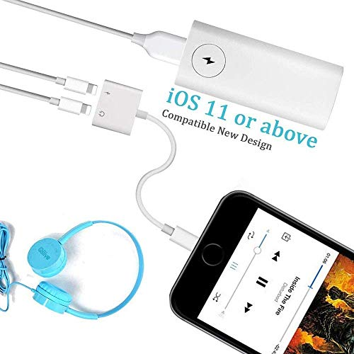 Headphone Adapter Compatible for iPhone 11/11pro/11pro mas/XR Adapter [Audio+Charge+Call+Volume Control ] Dual Ports Adapter Splitter Compatible for iPhone XS/Xmax/XR/X/8/8p/7/7p