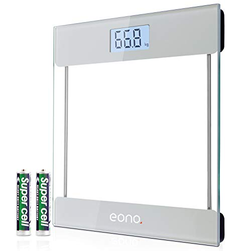 Amazon Brand – Eono Digitale Personenwaage mit hochpräzisen Sensoren und gehärtetem Glas, besonders schlankes Design, Step-on-Technologie, Premium-Anzeige mit Hintergrundbeleuchtung (kg/lbs/Stone)
