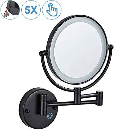 MRJ Kosmetikspiegel mit LED Beleuchtung, Kosmetikspiegel beleuchtet wandmontage, vergrößerungsspiegel 1x/5xFach - Berührungsschalter, 360° Schwenkbar, Versteckte, Schwarz