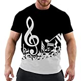 SSBZYES Camiseta para Hombre Camiseta De Cuello Redondo para Hombre Camiseta De Gran Tamaño para Hombre Camiseta con Estampado De Notas Musicales Camiseta Holgada para Hombre