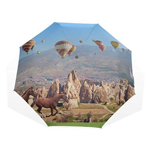 Paraguas de Viaje Carreras de Caballos Galope en la Pradera Compás contra la Ultravioleta Compacto 3 Fold Art Ligero Paraguas Plegables (impresión Exterior) Lluvia a Prueba de Viento Protección Solar