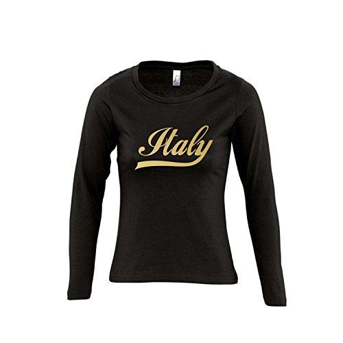 Italien Oldschool Italy LÄNDERSHIRT EM/WM Fan Trikot - Damen Langarm Longsleeve T-Shirt S-XL, Deep Black - Gold, L