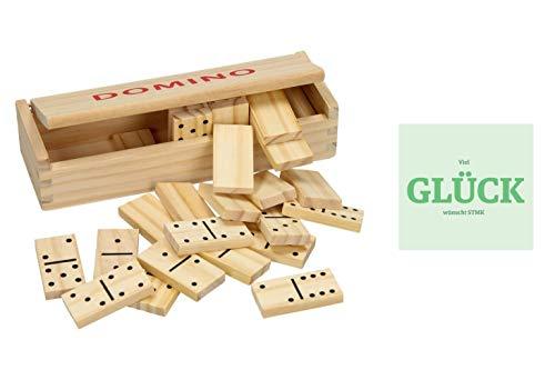 Domino de madera, 28 piedras, incluye instrucciones de juego, caja de madera y pegatina de la suerte (idioma español no garantizado).