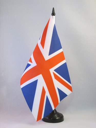 AZ FLAG Bandera de Mesa del Reino Unido 21x14cm - BANDERINA de DESPACHO Inglesa - BRITANICA – UK 14 x 21 cm