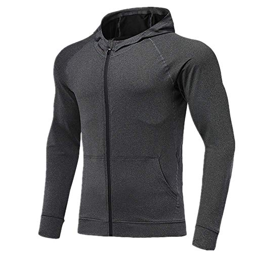 N\P De secado rápido de ocio con capucha para hombre con cremallera para correr, fitness, gimnasio, poliéster, chaqueta de baloncesto