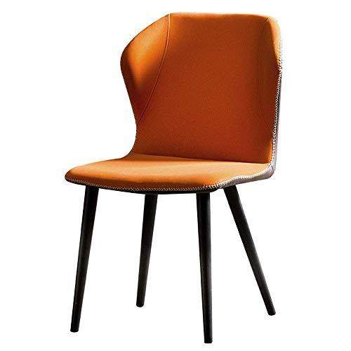 Silla nordica,Silla de Comedor de Cocina Moderna, sillón de Cuero con Patas de Metal sin apoyabrazo