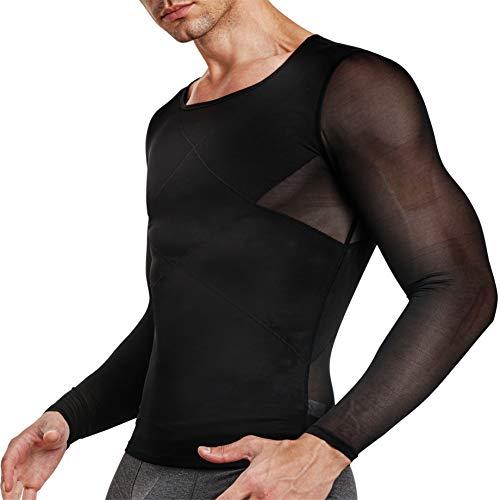 TAILONG Herren-Kompressions-Shirt, langärmelig, Unterhemden für Bauchmuskeln, schlanker Body Shaper - Schwarz - X-Groß