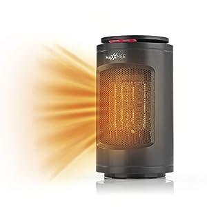 Maxxmee - Calefactor de mesa (3 niveles de potencia con tecnología de cerámica eficiente, salida de ángulo de 75 °, función de temporizador, protección contra sobrecalentamiento, 1200 W), color negro