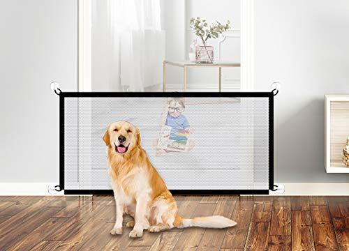 N/F CYJZHEU Hundebarrieren, Magic Gate Faltbar Hunde Türschutzgitter Hundeschutzgitter Absperrgitter Treppengitter für Babys für Hallentür Treppe Hoch 72cm Breit 110cm Schwarz