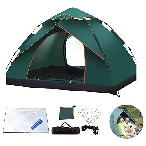 Totalmente Tienda automática, la Capa Exterior Impermeable Camping Doble no Tiene Que Construir 3-4 Personas Camping Tent Set, Verde del ejército dongdong