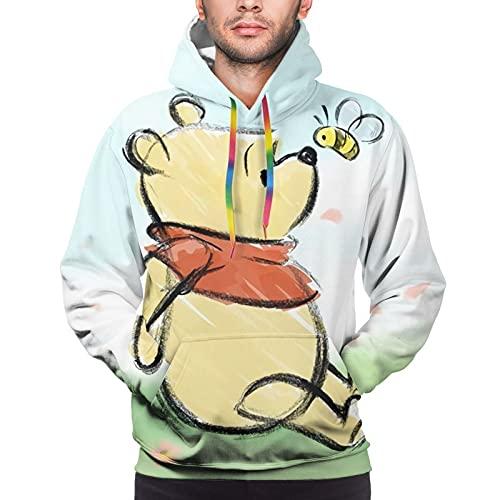 Winnie Cartoon Pooh Hoodie, sudadera con capucha para hombre, manga larga, casual, elegante, colorido, cuerda XXL negro