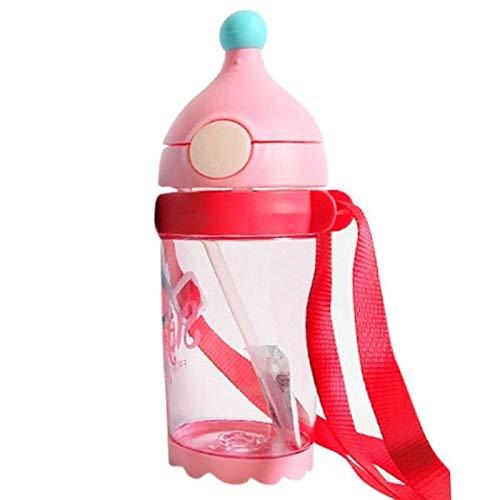 Ysswjzz Leer Beker, Fleshandvatten En Fopspeen Te Drinken, Babybeker 6+ Maanden Met Verwijderbare Handvatten, Accessoires for Babyvoeding, 400 Ml (Color : Red)