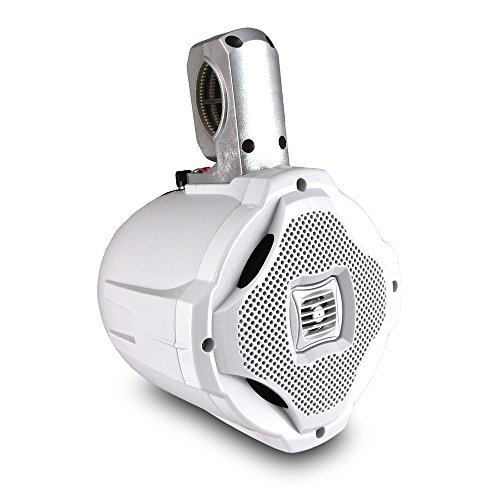 Two-way Marine Wakeboard Tower Speaker - 6.5 Inch 500 Watt Mid Range Audio Weatherproof Marine Grade Boat Sound System - Lanzar AQWB65W (White)