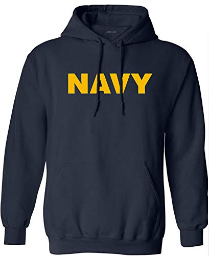 Joe's USA - Navy Logo Hooded Sweatshirt, Size S