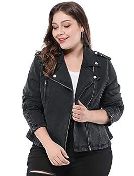 Agnes Orinda Women s Plus Size Denim Jackets Collar Inclined Zip Closure Biker Moto Jacket Black 3X