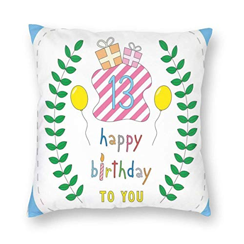 QUEMIN Set Pastel Colored Hand Drawn Cute Composition Leaves Gifts Balloons 18 x 18 Inches Cushion Case Luxury European Throw Pillow Cover Decorative Pillow for Couch Living Room Bedroom Car