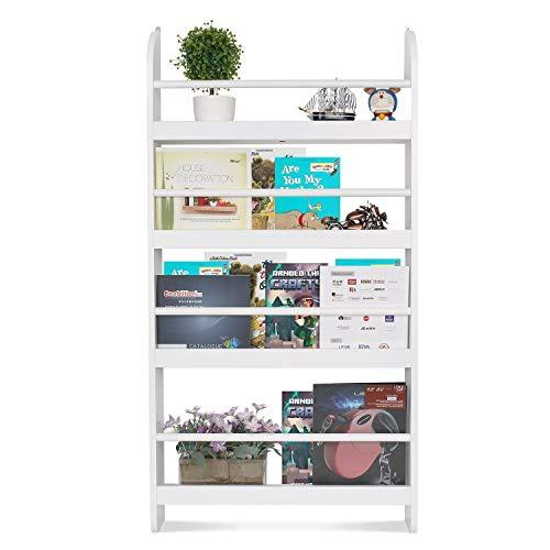 Homfa Estantería de Pared de Libros con 4 Estantes Estantería Infantil Librería Blanco 59x12x113cm
