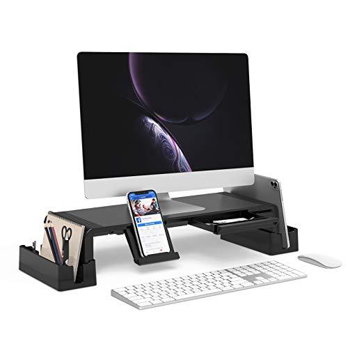 Monitor Stand Riser, Jelly Comb Adjustable Desktop Shelf Organizer with Detachable Storage Racks, Built-in Phones/Tablets Stands, Storage Drawer for PC TV Printer Projector Laptop Computer, Black