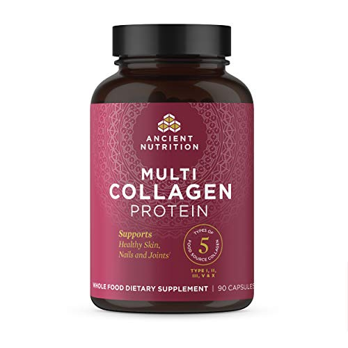 Multi Collagen Capsules, Collagen Types I, II, II, V & X, Collagen Pills Formulated by Dr. Josh Axe, Blend of Food Sourced Collagen Peptides, Supports Skin, Nail & Gut Health, 90 Count - 30 Servings