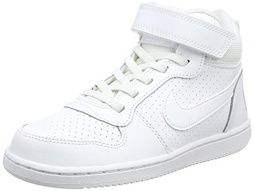 Nike Court Borough Mid (Psv)-870026, Jungen Basketballschuhe, Weiß (White / White 100), 33.5 EU