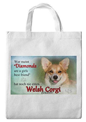 Merchandise for Fans Einkaufstasche- 38x42cm, 8 Liter - Motiv: Welsh Corgi Porträt mit Spruch [ 02 ]