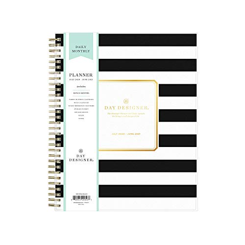 "Day Designer for Blue Sky 2020-2021 Academic Year Daily & Monthly Planner, Frosted Flexible Cover, Twin-Wire Binding, 8"" x 10"", Black Stripe (120053)"